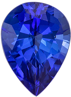 Excellent Blue Sapphire Loose Gem, Pear Cut, Vivid Rich Blue, 8 x 5.9 mm, 1.44 carats