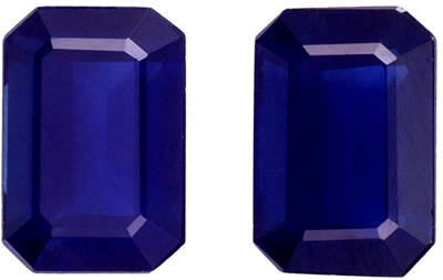 Excellent Blue Sapphire Well Matched Pair, 6 x 4.1 mm, Rich Blue, Emerald Cut, 1.86 carats