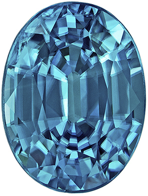 Excellent Blue Zircon Genuine Gem in Oval Cut, 2.85 carats, Rich Teal Blue, 8.9 x 6.7 mm