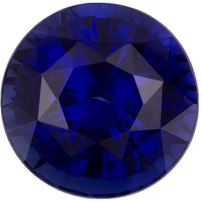 Excellent Bright Sapphire Loose Gem in Round Cut, Vivid Rich Blue, 5.9 mm, 1.15 Carats - SOLD