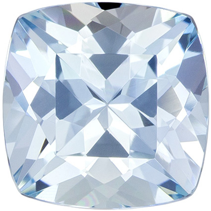 Excellent Cushion Cut Aquamarine Loose Gem, Medium Blue, 8 mm, 2.13 carats