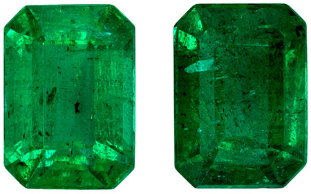 Excellent Emerald Well Matched Gemstone Pair, Vivid Rich Green, Emerald Cut, 7.1 x 5 mm, 2.37 carats
