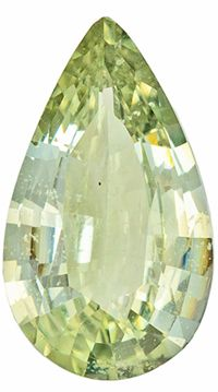 Excellent  No Heat Green Sapphire Pear Cut Loose Gemstone Chartreuse Green, 10 x 5.8 mm, 1.46 carats