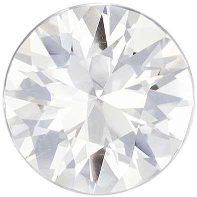 Excellent No Heat White Sapphire Loose Gem, Round Cut, Colorless White, 6.5 mm, 1.1 carats