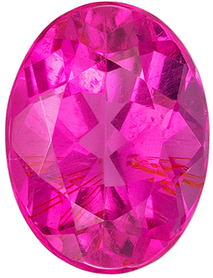 Excellent Pink Tourmaline Genuine Gemstone in Oval Cut, 7.9 x 5.9 mm, Medium Hot Pink, 1.32 carats