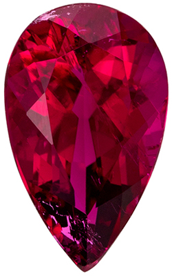 Excellent Rubellite Tourmaline Gemstone in Pear Cut, 1.54 carats, Fuchsia Red, 9.9 x 6.1 mm