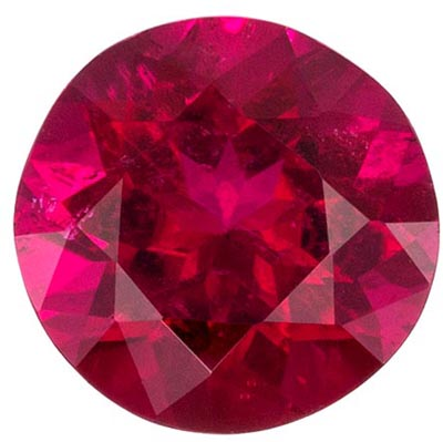 Excellent Rubellite Tourmaline Loose Gem in Round Cut, 1.06 carats, Rich Fuchsia Red, 6.7 mm