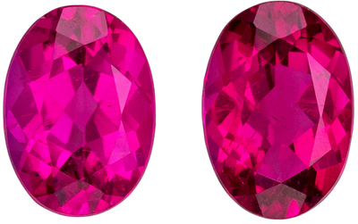 Excellent Rubellite Tourmaline Well Matched Gem Pair in Oval Cut, 6.9 x 4.7 mm, Vivid Rich Fuchsia, 1.39 carats