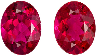 Excellent Rubellite Tourmaline Well Matched Pair, 8.1 x 6.1 mm, Rich Fuchsia Red, Oval Cut, 2.3 carats