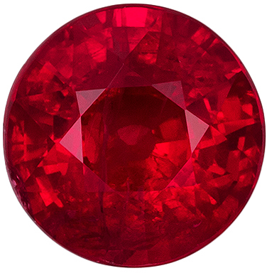 Excellent Ruby Genuine Gemstone, Round Cut, Open Rich Red, 5.7 mm, 1.04 carats