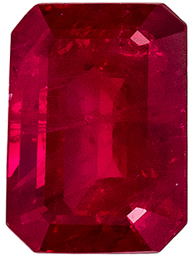 Excellent Ruby Loose Gem, 5.6 x 4.2 mm, Open Rich Red, Emerald Cut, 0.78 carats