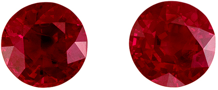 Stunning Pair of Fine Rubies, Perfect Matched Pair in Round Cut, Pigeons Blood Red, 1.64 carats , 5.50 mm