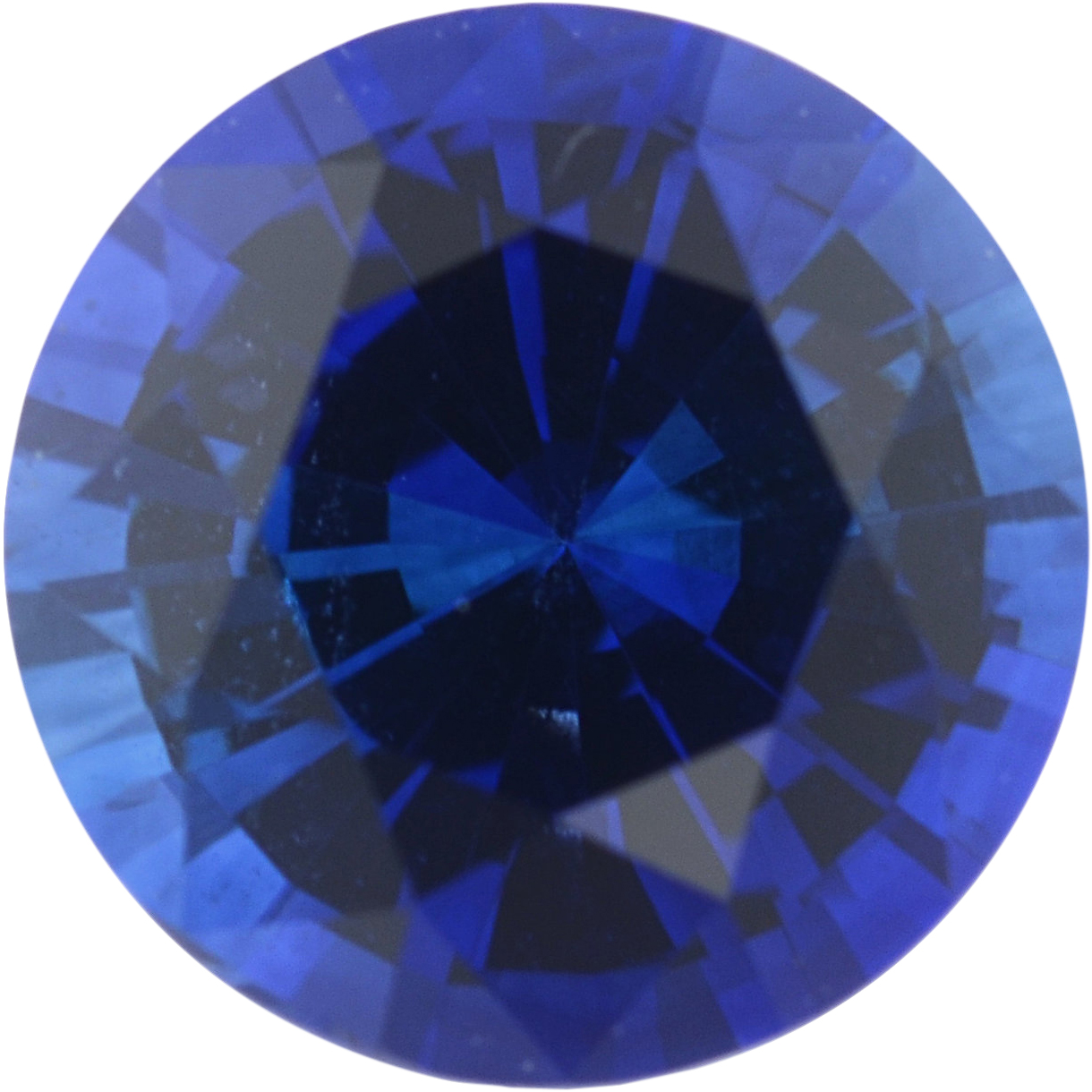 Excellent Sapphire Loose Gem in Round Cut, Medium Violet Blue, 5.92 mm, 0.91 Carats
