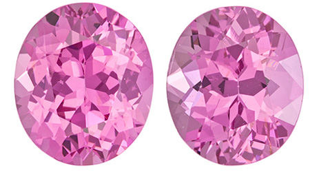 Excellent Value in Natural Pink Burmese Spinel Paired Gemstones, Oval Cut, 2.44 carats
