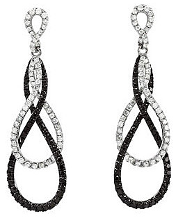 Exceptional 1.5 ct, 0.90 - 1.40 mm, Black and White Diamond Post Back Dangle Earrings in 14k White Gold - Gorgeous Interwoven Effect