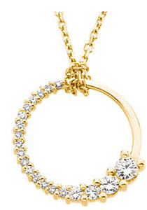 Exceptional 1/5ct Circle Journey Pendant for SALE - Choose 14k White or Yellow Gold - FREE Chain