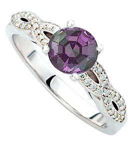 Exceptional 1 carat Round Alexandrite Super Gem Mounted in Twisted Shank Diamond Ring