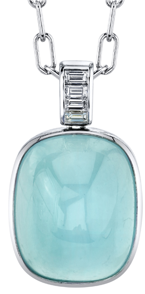 Exceptional 44.98ct Cabochon Cushion Aquamarine Pendant in 18kt White Gold - 4 Baguette Diamond Accents