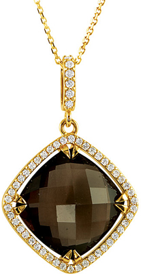 Exceptional 9.33ct 14mm Smokey Quartz 14k Yellow Gold Diamond Accented Halo Style Pendant for SALE - Free Chain Included