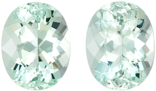 Exceptional Beryl Gems in Seafoam Blue Green Color, Matched Pair Gorgeous Color and Cut, 12.6 x 9.7 mm, 8.89 Carats