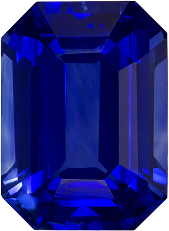 Exceptional Blue Sapphire Genuine Faceted Ceylon Gem in Emerald Cut, 9.5 x 6.9 mm, 2.95 Carats