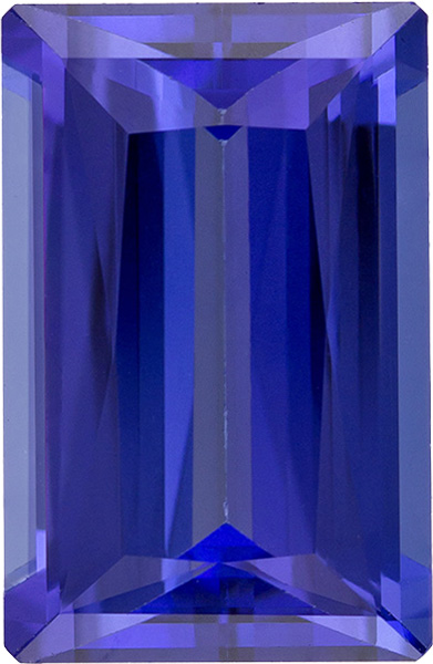 Exceptional Clarity Tanzanite Gemstone in Baguette Cut, Rich Violet Blue Color, 12.5 x 8.1 mm, 4.95 carats