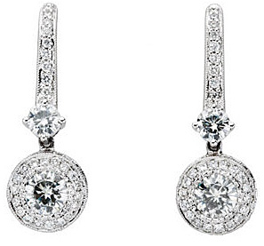 Exceptional Diamond Studded 14k White Gold Wire Back Fancy Earrings With .58ct 4.5mm Round Created Moissanite Gems