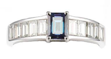 Exceptional GEM 0.57cts 5.85 x 4.5mm Natural Alexandrite set with 1 carat Baguette Diamond Platinum Ring
