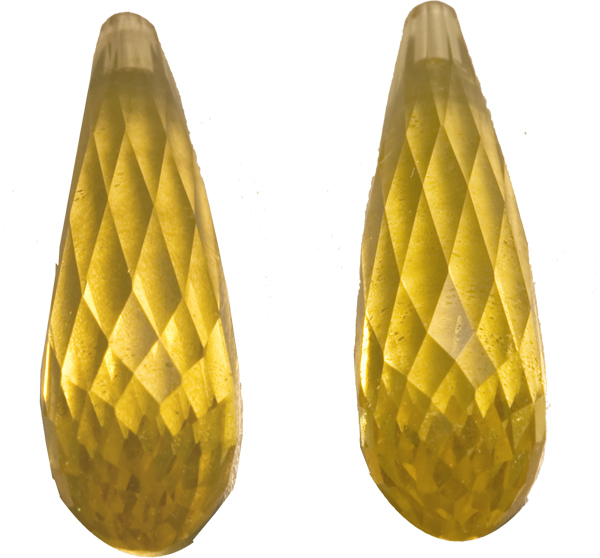 Exceptional Large Briolette Yellow Beryls Pair,  Yellow, 23.4 x 7.2 mm, 15.74 carats