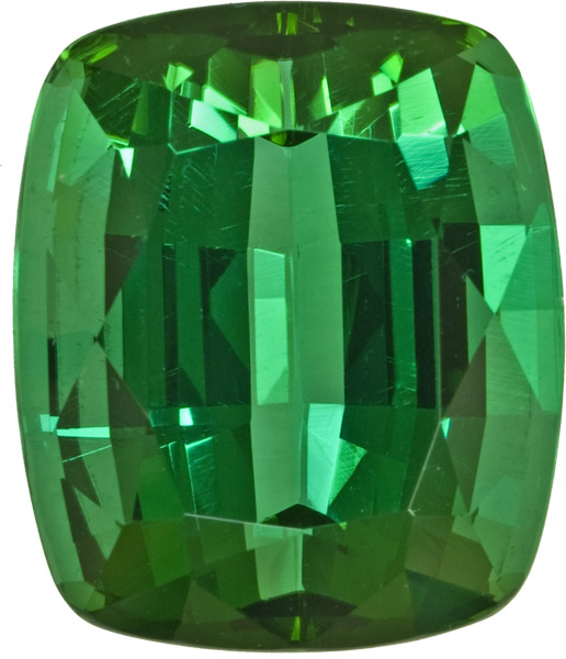 Exceptional Namibian Tourmaline Loose Gem in German Cushion Cut, Vivid Chrome Green Color in 17.1 x 14.5 mm, 19.87 carats