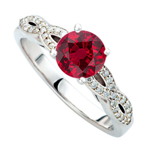 Exceptional Quality 1 carat GEM Genuine 6mm Ruby Gemstone set in Twisted Shank Diamond Ring