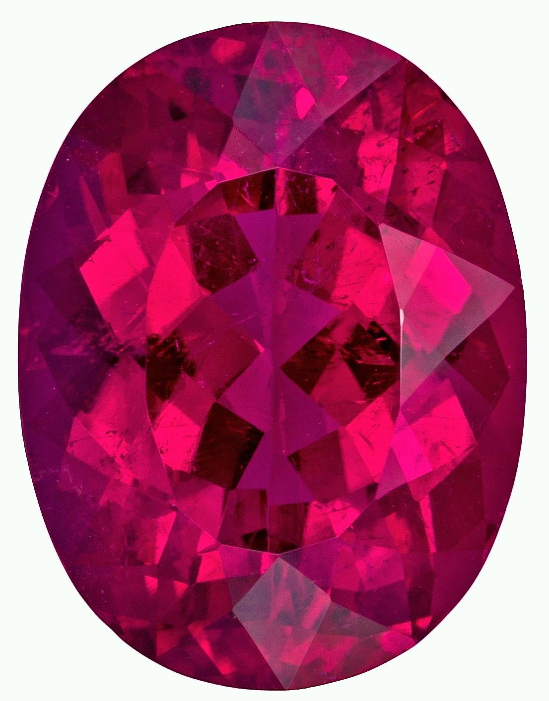 Exceptional Rubellite Tourmaline 7.34 carats, Oval shape gemstone, 14.3 x 10.9  mm