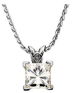 Exceptional Square Created Moissanite Solitaire Pendant in Scroll Setting - Metal Type and Stone Size Options