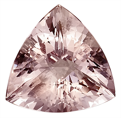 Exceptional, Unheated 20 mm Nigerian Beauty, Large Morganite Gemstone, Trillion Checkerboard Cut, 20.07 carats