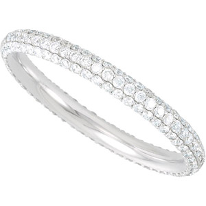 Exceptionally Beautiful Completely Covered .9ct Pave Diamond Eternity Band in 14k White Gold for SALE