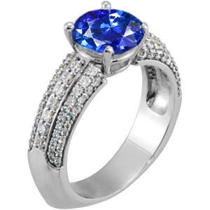 Exceptionally Fine Large 1.20 carat 6.2mm Genuine Blue Sapphire Engagement Ring With Dazzling Pave Diamond Accents
