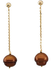 Exclusive 11mm Freshwater Dyed Chocolate Cultured Circl? Pearl Earrings in 14 karat Yellow Gold