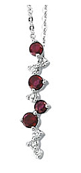 Exclusive .42ct 2.5-2.75mm Cascading Ruby & Diamond Necklace set in 14 karat White Gold for SALE - FREE Chain - SOLD