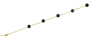 Exclusive 6mm Round Black Onyx Bead Station Necklace set in 14 karat Yellow Gold - Free Chain