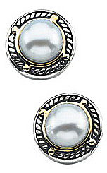 Exclusive 7mm Freshwater Cultured Pearl Earrings in Sterling Silver & 14 karat Yellow Gold