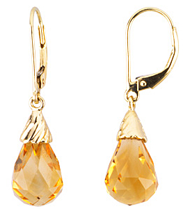 Exclusive Citrine Faceted 4.3ct 12x8mm Briolette Lever-back Earrings set in 14 karat Yellow Gold for SALE