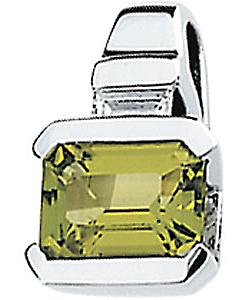 Exclusive Octagon Peridot Pendant set in 14 karat White Gold - Baguette Diamond Accent - Free Chain - SOLD