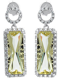 Expressive 7.44ct 16x6mm Lime Quartz & 1/3 ct tw Diamond Earrings expertly set in 14 karat White Gold - SOLD