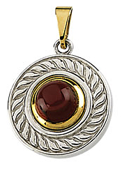Expressive .75ct 6mm Rhodolite Garnet Pendant set in Sterling Silver & 14 karat Yellow Gold - Free Chain