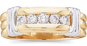 Exquisite 0.50 Carat Total Weight Gents Two Tone 3.00 mm Diamond Ring set in 14 karat Yellow/White Gold