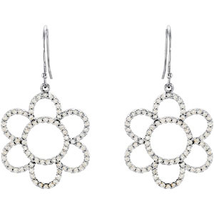 Exquisite 0.75 carat total weight 1.00 mm Diamond Flower Earrings skillfully set in 14 karat White Gold for SALE - SOLD