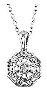 Exquisite .04ct Hexagon Shape Sterling Silver Pendant with Diamond Accents