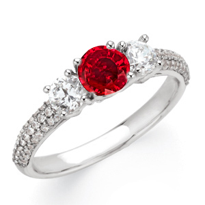 1 carat GEM Grade 6mm Ruby Gemstone Engagement Ring With Diamond Side Gems and Diamond Accents on Band