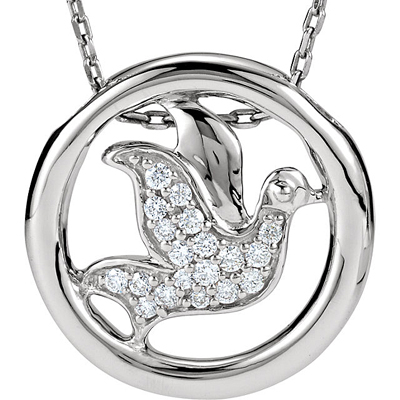 Exquisite .13ct Pave Diamond Dove Pendant  In Sterling Silver With Circle Frame for SALE -1.1-1.2mm - Free Chain Included