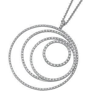 Exquisite 14k White Gold Nesting Circle 1.5ct Diamond Pendant for SALE - FREE Chain - SOLD